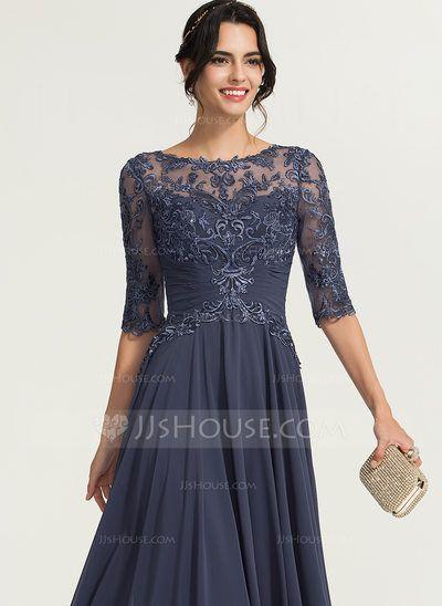 JJsHouse Linha A Decote redondo Longos Chiffon Vestido de festa com lantejoulas   – Wedding