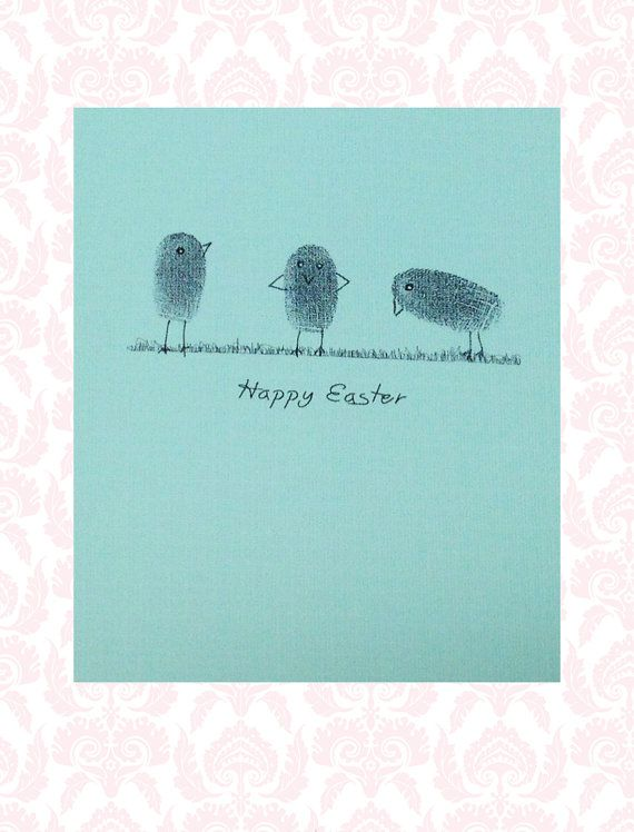 Cute Handmade Thumbprint-Chicks Easter Card