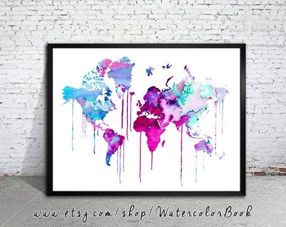 Blue Purple WATERCOLOR MAP World Map Watercolor by WatercolorBook, $15.00