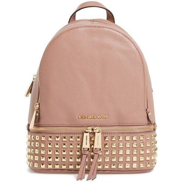 MICHAEL Michael Kors 'Small Rhea' Studded Backpack (500 SGD) ❤ liked on Polyvore featuring bags, backpacks, bolsas, dusty rose, leather rucksack, genuine leather bag, zip top bag, handle bag and leather backpack