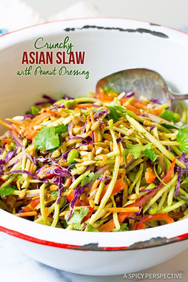 Zippy Crunchy Asian Slaw Recipe with Peanut Dressing