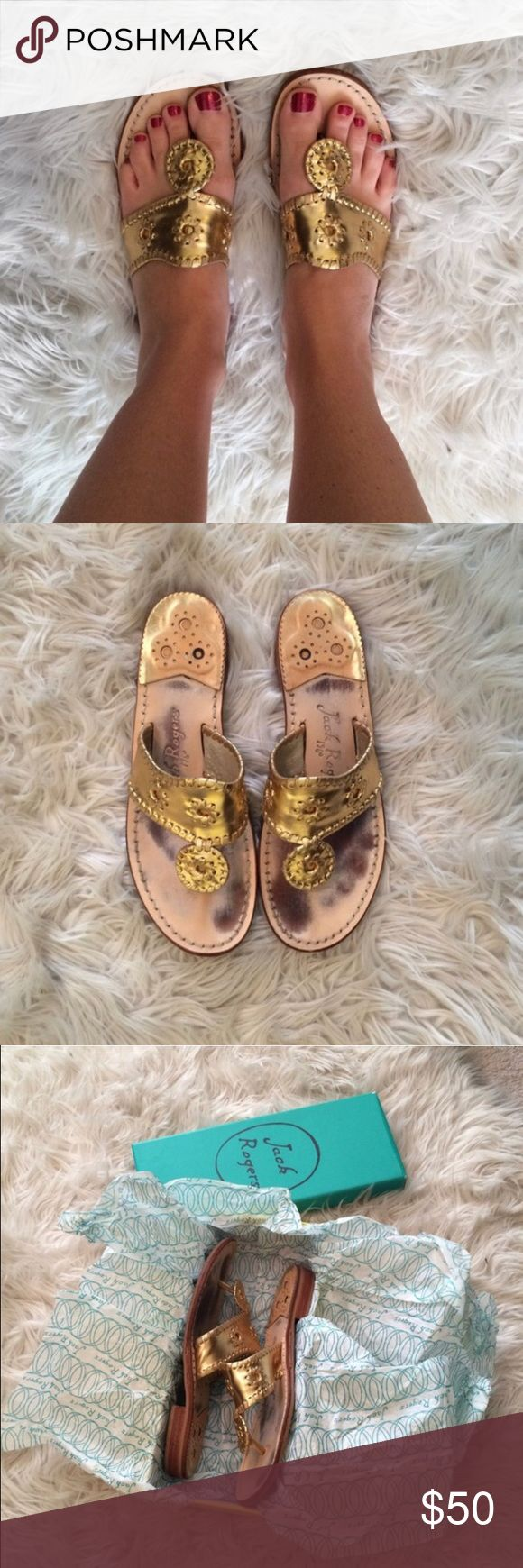 Jack Rogers Gold Flat Sandals Gold, size 8, Jack Rogers sandals. Well worn, but look new on. Ships in original box, from a smoke free home. Open to offers 😊 Jack Rogers Shoes Sandals