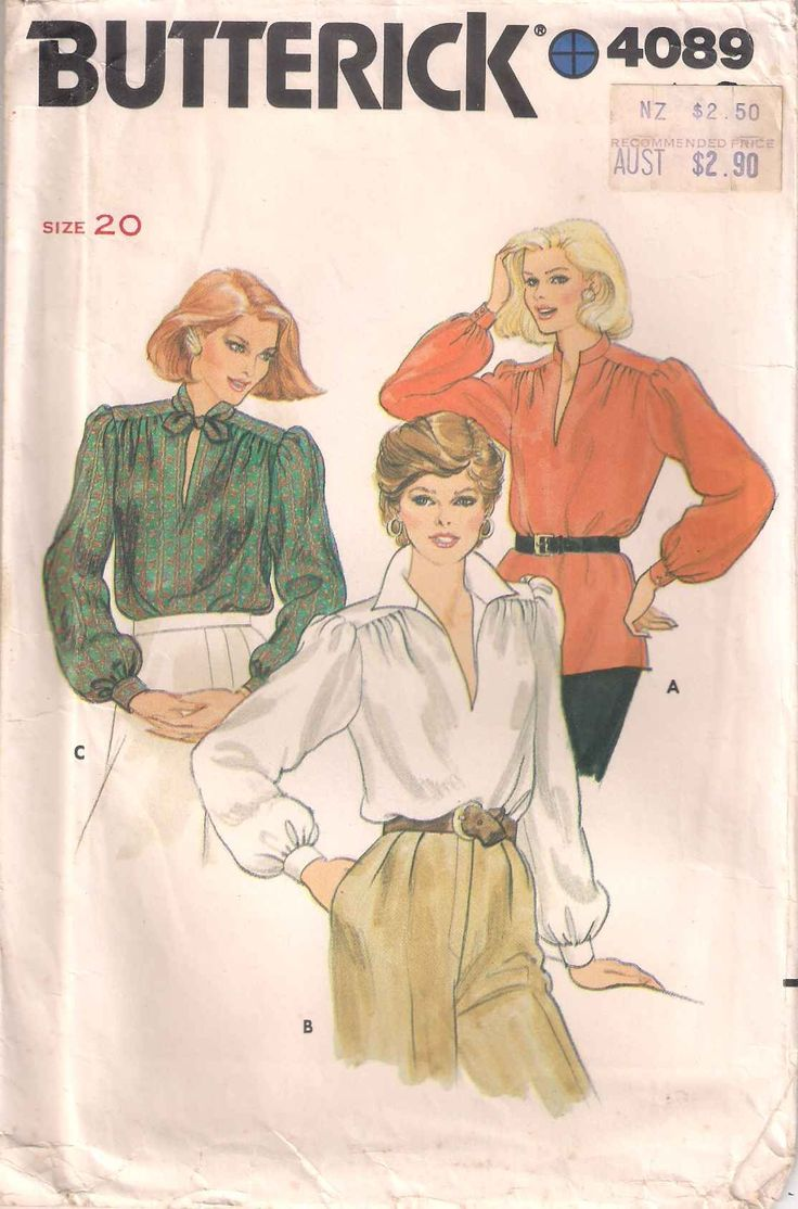 Butterick 4089 sewing pattern, Misses' blouse sewing pattern size 20, 80s eighties 1980s pattern, 70s 1970s seventies, vintage retro pattern by Rethreading on Etsy