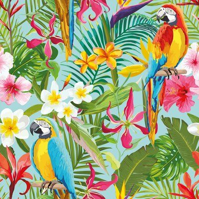 Bay Isle Home Mayer Tropical Removable Peel And Stick Wallpaper Panel Botanical Wallpaper Tropical Wallpaper Flower Wallpaper