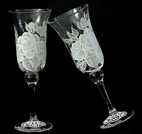 White Vintage Rose Hand Painted Champagne Flutes - 2 Flutes – A Wincy Glass N Design, LLC