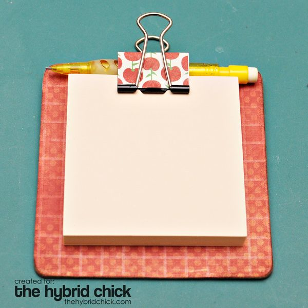 Post-It Clipboard-   4″ coaster  3″ post-it note pad  large binder clip  Mod Podge