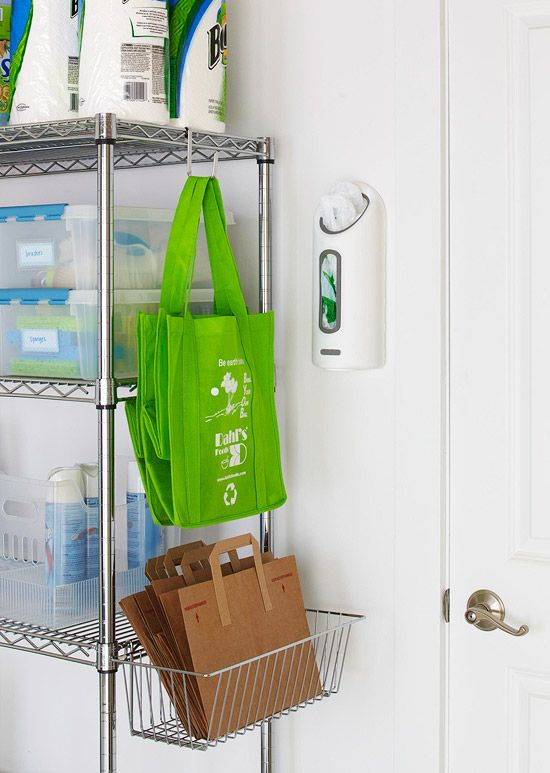 heavy duty shelving plus hooks and wire baskets in the garage... good way to remember reuse bagsGarages Organic, Garages Doors, Reusable Bags, Plastic Bags, Organic Ideas, Grocery Bags, Garage Storage, Storage Ideas, Garages Storage