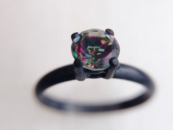 Brazil Mystic Topaz Ring - Oxidized Silver Rings, November Birthstone, dgc, SFEtsy, Love