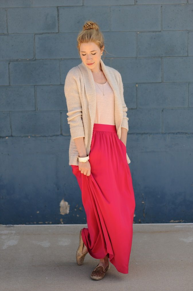 comfyPink Maxi, Long Cardigan, Skirts Style, Bright Pink, 2014 Outfit, Colors Long Skirts, Collars Sweaters, Spring Outfit, Long Pink