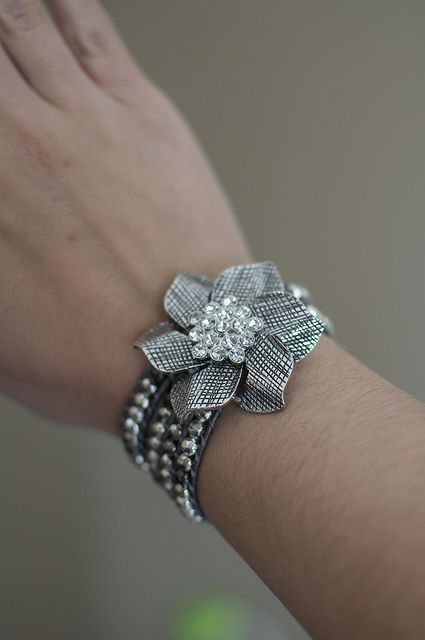 Add a pin to your favorite bracelet for a new look!  Here is Premier Designs' Zinnia pin with It's A Wrap bracelet