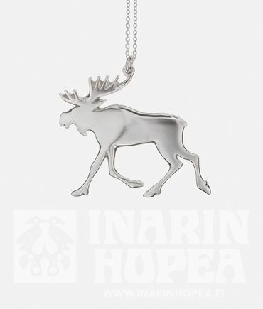 Elk Pendant, LElk Pendant, L  Height 50 mm, width 56 mm Chain length 60 cm Sterling Silver 925 Handmade in Inari, Lapland  Price 105,00€