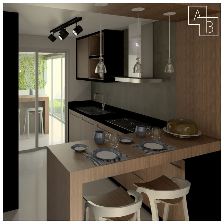 Cozinha pequena e moderna em madeira com detalhes em preto! #pendente #madeira #cozinha #moderno