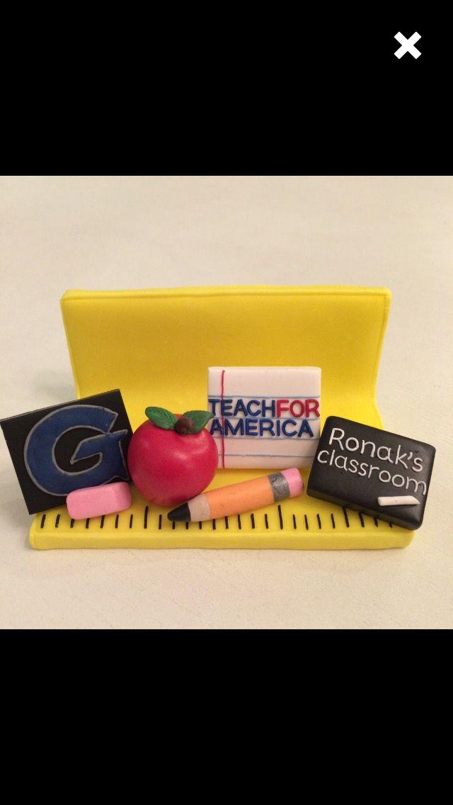 Teacher business card holder, custom made, polymer clay