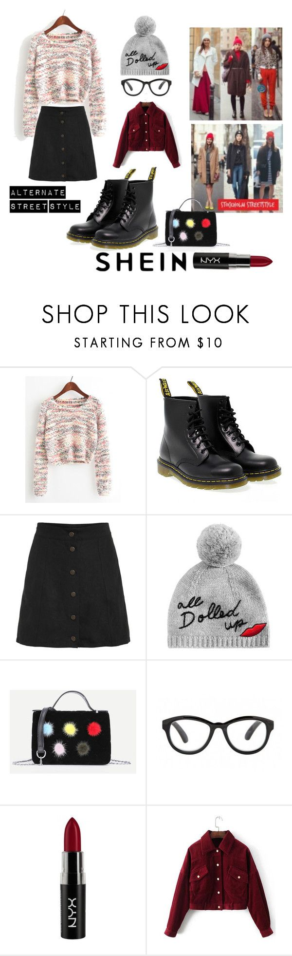 Alternate Street Style by paisleyvelvetandlace on Polyvore featuring Dr. Martens, Kate Spade and NYX