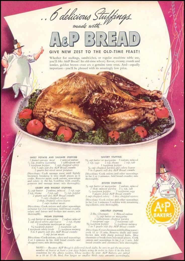 Stuffings. This may be a vintage ad, but the stuffing recipes sound great!!