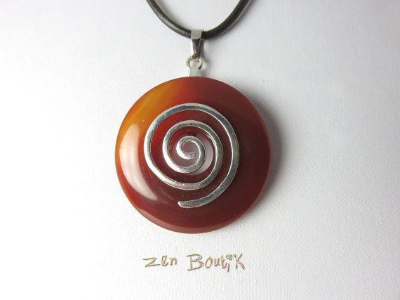 Collier Agate Cornaline Donut et Spirale Pendentif par ZenBoutik
