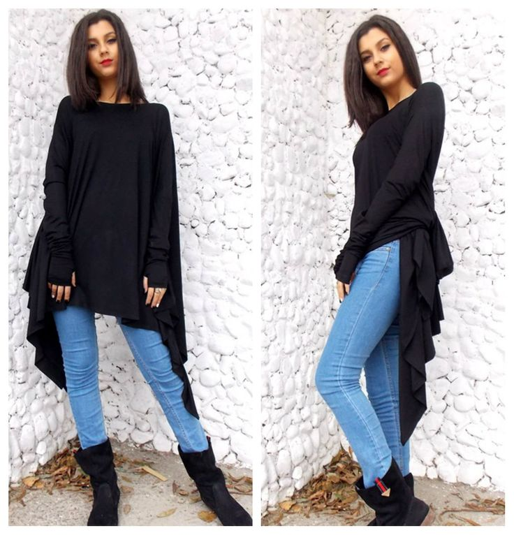New in our shop! Black Top, Black Asymmetric Dress, Oversize Black Asymmetric Tunic Top, Long Sleeved Tunic TT12, Loose Tunic by TEYXO https://www.etsy.com/listing/174215277/black-top-black-asymmetric-dress?utm_campaign=crowdfire&utm_content=crowdfire&utm_medium=social&utm_source=pinterest