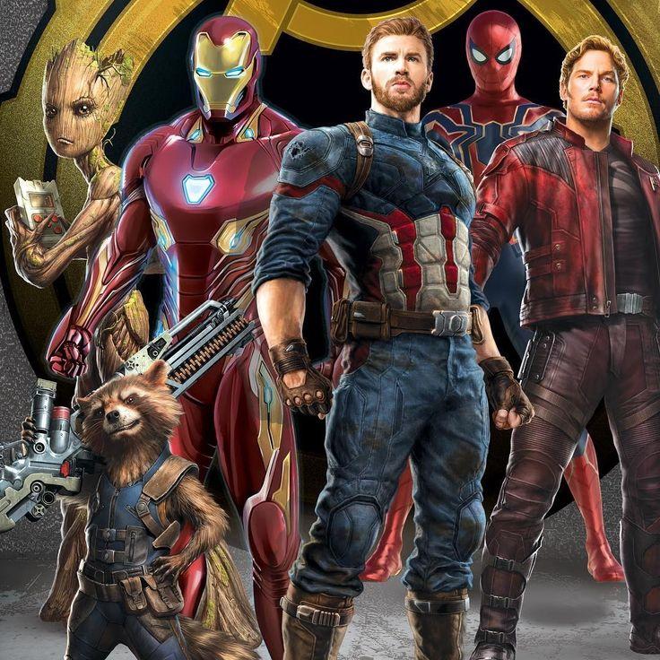 Vingadores: Guerra Infinita - Teen Groot, Rocket, Homem de Ferro, Capitão, Homem Aranha & Senhor das Estrelas (2018, Imagem Promocional).