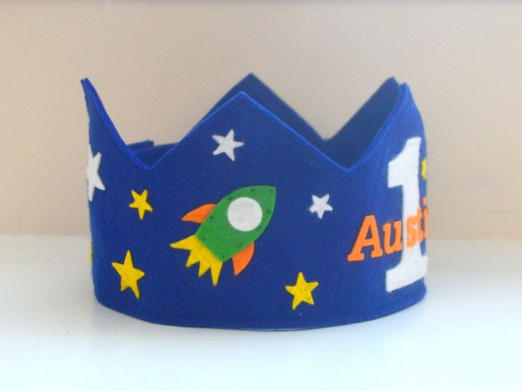 Space Birthday Crown, Rocket Crown, Wool Felt, First Birthday, Boy, Space Ship, Stars by pixieandpenelope on Etsy https://www.etsy.com/listing/242338057/space-birthday-crown-rocket-crown-wool