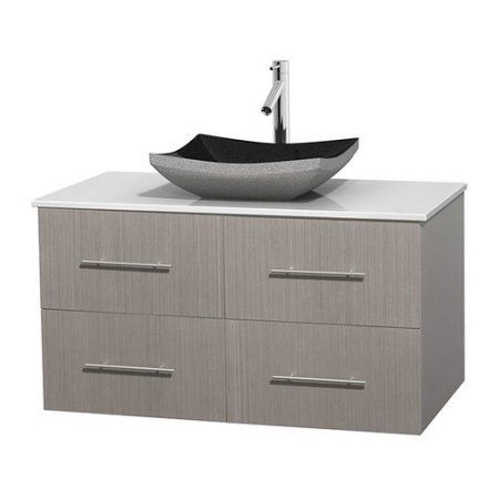 Wyndham Collection Centra 42 inch Single Bathroom Vanity in Gray Oak, White Man-Made Stone Countertop, Altair Black Granite Sink, and No Mirror, Multicolor