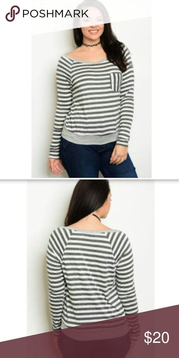 NWT PLUS long sleeve shirt Striped women's shirt Tops Tees - Long Sleeve