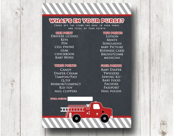 Fireman BABY SHOWER Game,CLICK TO ORDER What's in your purse, Fire fighter shower, firefighter baby shower, printable  game