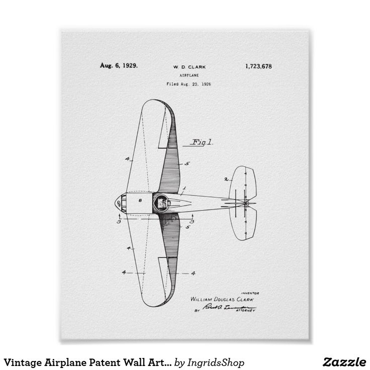 Vintage Airplane Patent Wall Art, Plane Poster