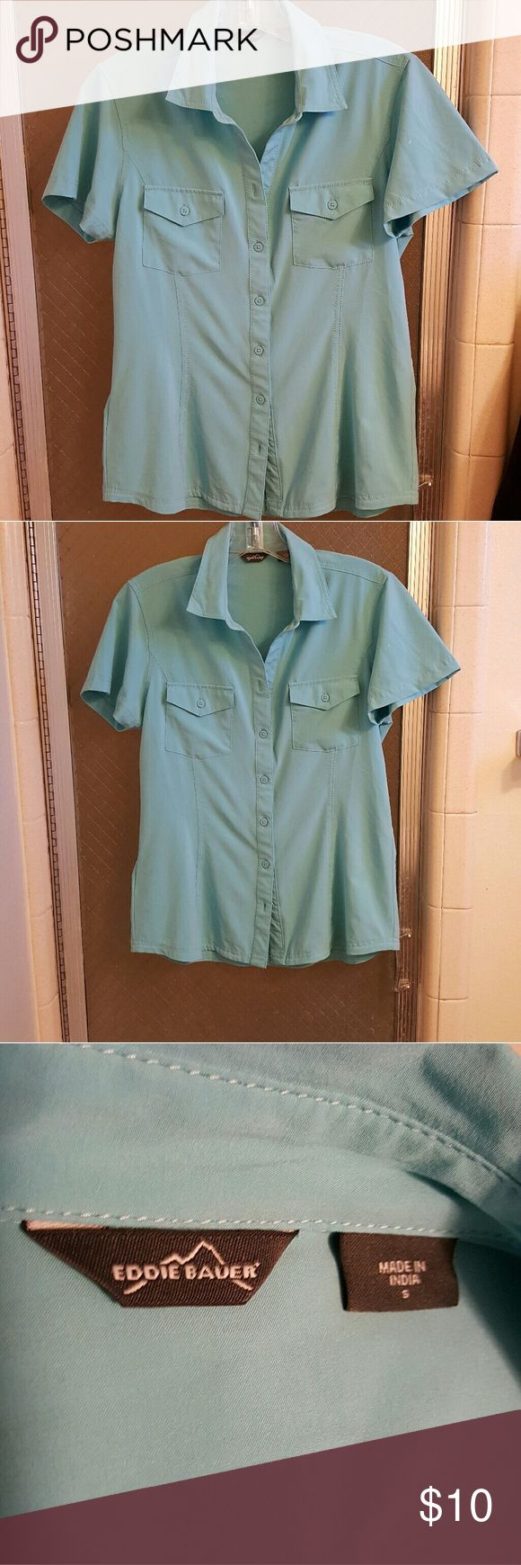 Eddie Bauer Teal/Mint button up Blouse, Small Eddie Bauer polyester Teal mint blouse, small. Super silky soft and in great shape Eddie Bauer Tops Blouses