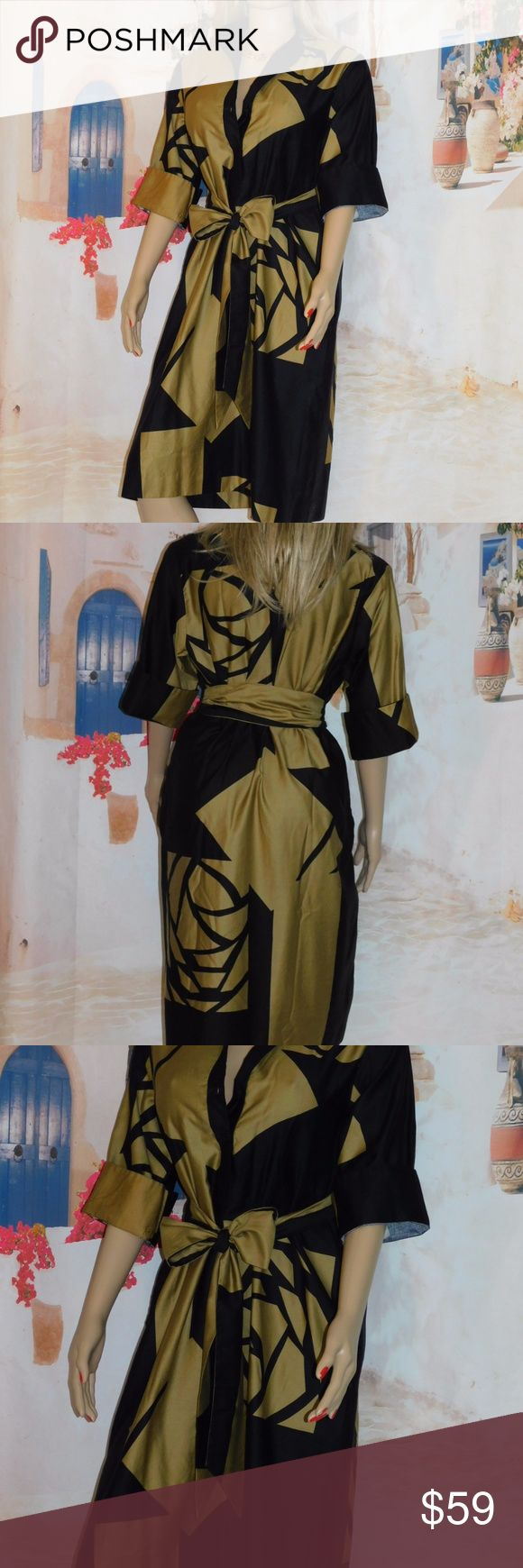 """Catherine Ogust Penthouse Gallery Forever Dress 100% Cotton dress in stunning bronze and black, free fitting with matching OBI belt  Excellent Condition bust to 23"""" flat x 2 waist to 23"""" flat x 2  Hips to 24"""" flat x 2  Length 43"""" Fits medium to Large Catherine Ogust Dresses"""