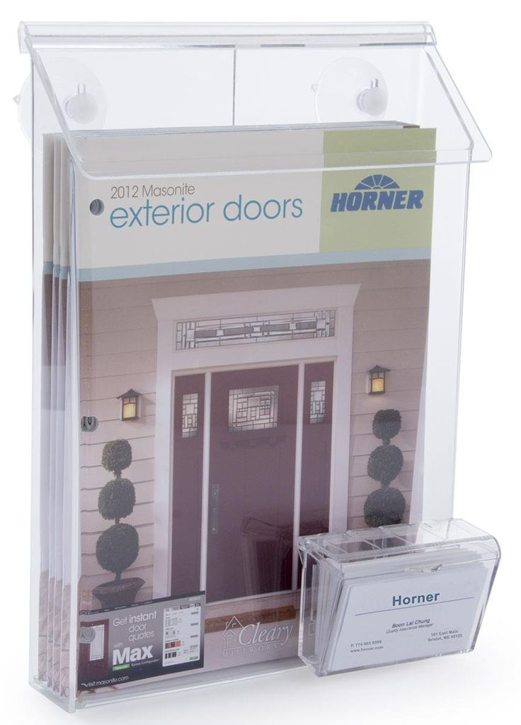Workshop Series Outdoor Magazine Holder for Window, Business Card Pocket - Clear