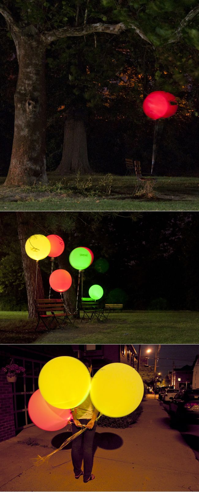 "Glowing balloons? All you need is a ""balloon LED light"" and some strong helium balloons.     Interesting alternative to paper laterns and could make for some cool nighttime photos."