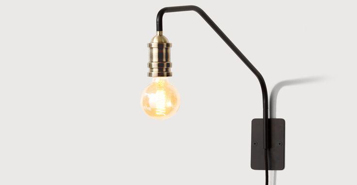 Starkey Wall Lamp, Black and Brass