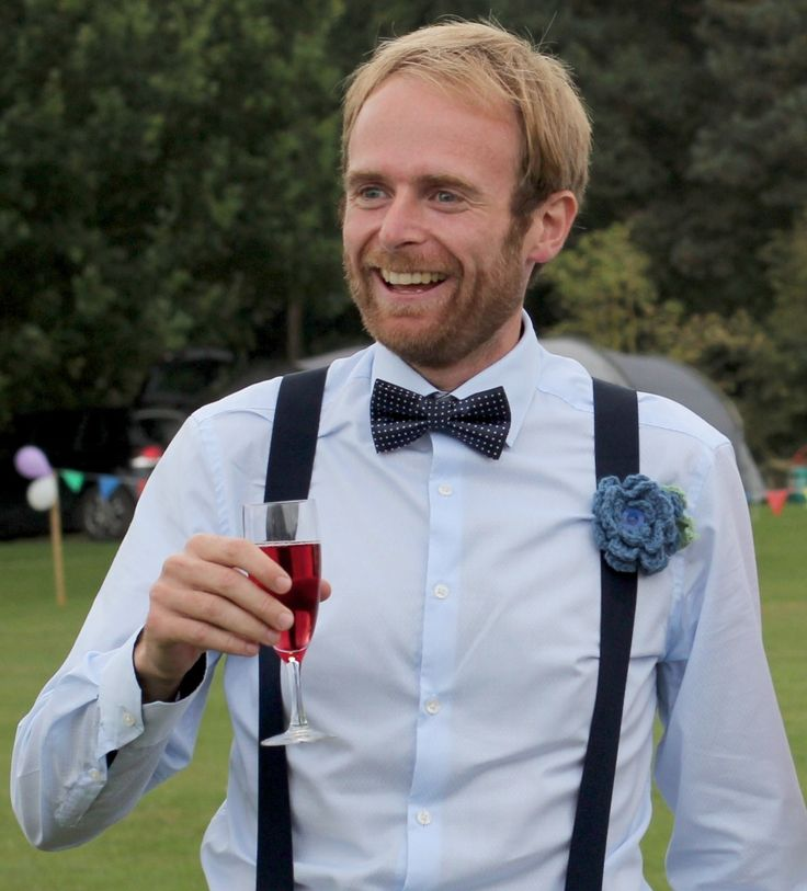 My handsome groom (the proprietor of Go Cotswolds!) showing off one of my handmade crochet buttonholes for weddings :-) See www.handmadeflowers.co.uk for more information.