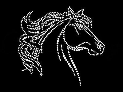 Hot fix diamante horse rider half transfer hot iron on motif for t-shirts bags