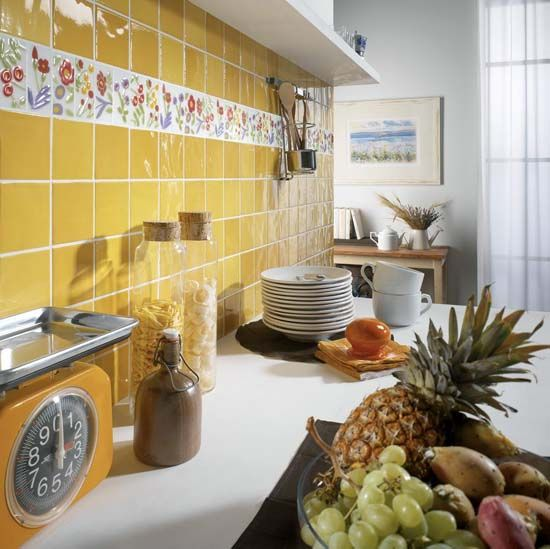 floral tile designs and yellow wall tiles for kitchen decorating