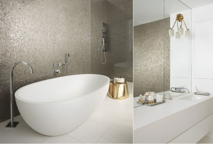 elegant contemporary bath, gold tile feature wall