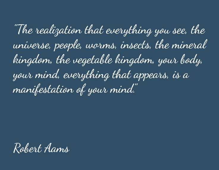 """""""The realization that everything you see, the universe, people, worms, insects, the mineral kingdom, the vegetable kingdom, your body, your mind, everything that appears, is a manifestation of your mind.""""      Robert Aams"""