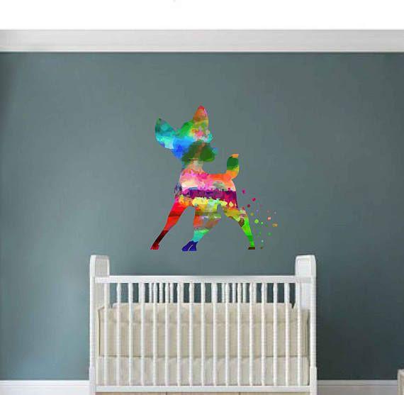 kcik2099 Full Color Wall decal Watercolor Bambi Character