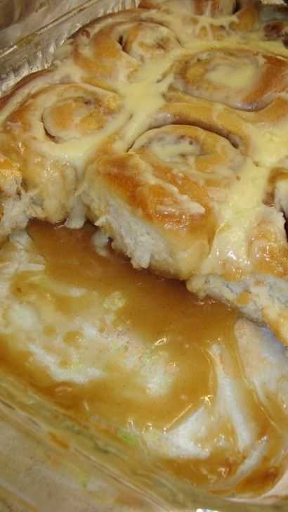 This is one crazy recipe, you use Rhodes Frozen Cinnamon Rolls... I like this already, then you let them rise. Meanwhile you warm up butter, sugar and ice cream~ you read that right, ice cream... pour over the rolls and bake!!! You can top with the icing, if you dare!