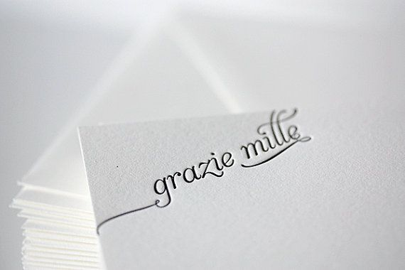 grazie mille letterpress thank you cards in by penelopespress