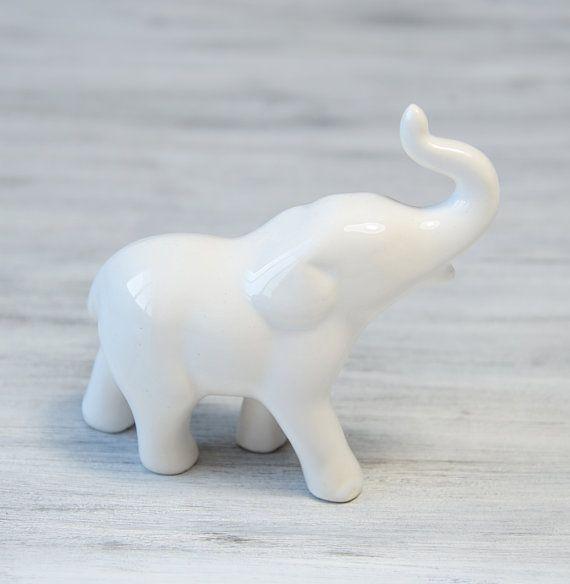 vintage porcelain elephant figurine white elephant sculpture collec. Black Bedroom Furniture Sets. Home Design Ideas