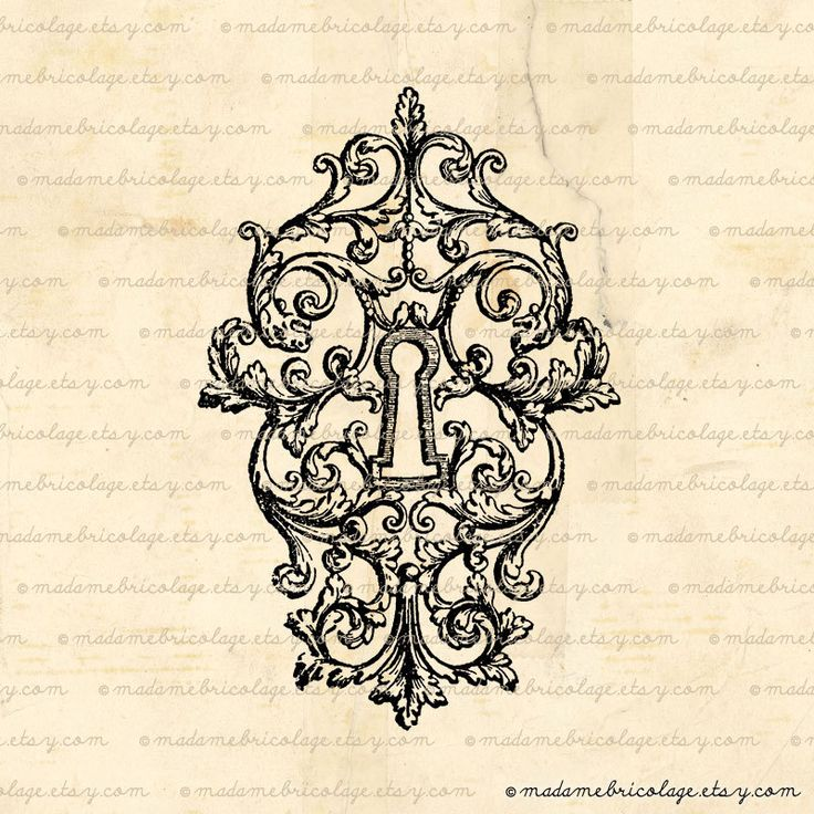 French Victorian Key Lock Keyhole  Digital by MadameBricolage, $2.00