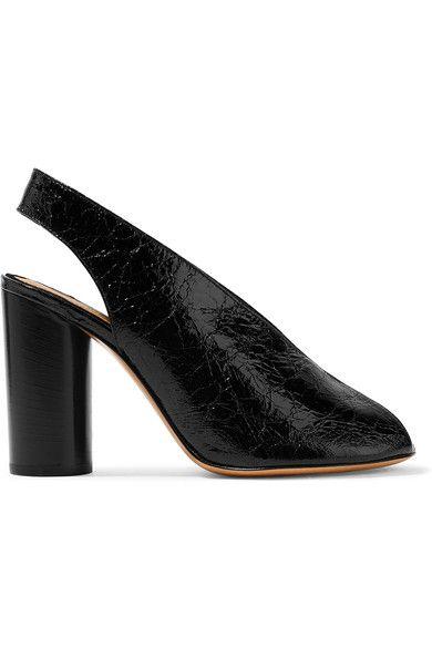 Isabel Marant - Meirid Cracked-leather Slingback Sandals - Black - FR39