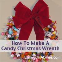 "Easy instructions to make a homemade Candy Christmas Wreath along with a video demonstration and free ""How To Make A Candy Christmas Wreath"" e-book."