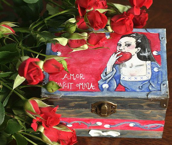 Natural wooden box ornamented with latin love by SkadiaArt on Etsy
