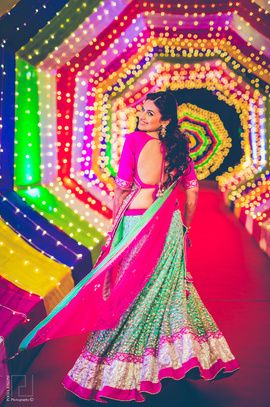 Sangeet Lehengas - Sea Green & Hot Pink Lehenga | WedMeGood  The Perfect Picture! What A Mix Of Colors. Check Out Many More lehenga designs on wedmegood.com  #wedmegood #lehenga