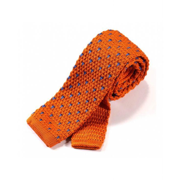 Галстук вязаный оранжевый с затяжками - купить в Киеве и Украине по недорогой цене, интернет-магазин