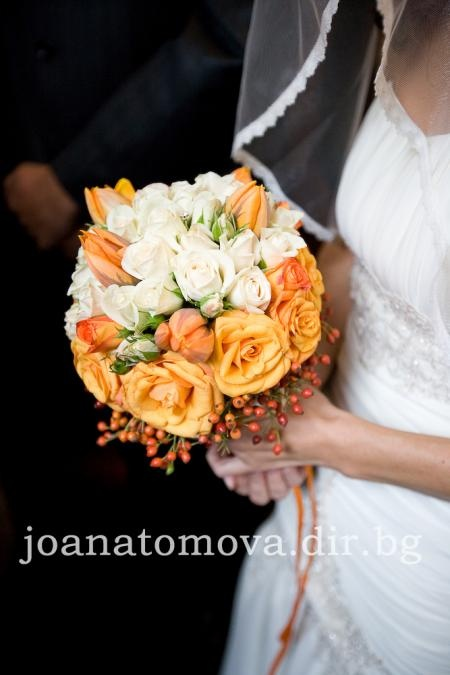roses, tulips and spray roses in white and orange