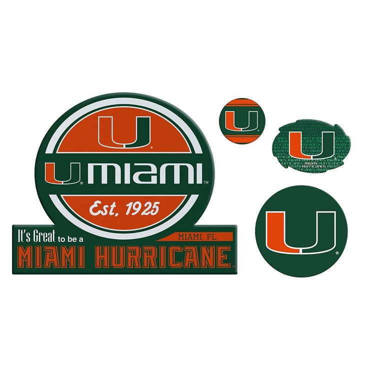 Miami Hurricanes Game Day 4-Piece Magnet Set, Multicolor