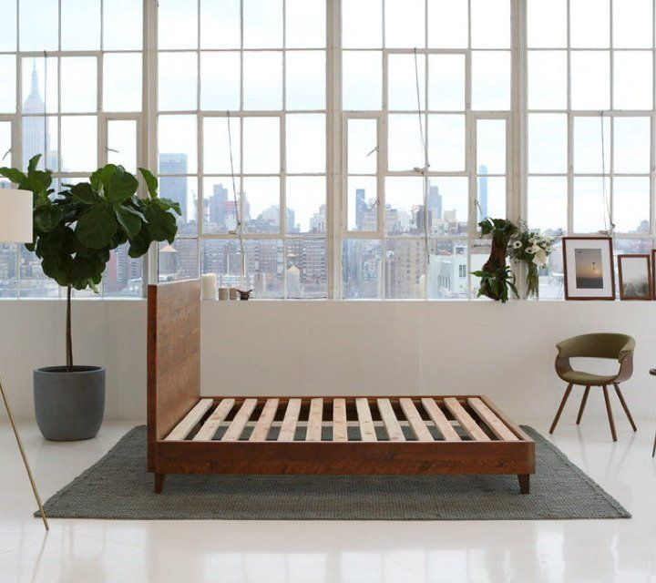 Avocado Natural Wood Bed Frame By Avocado Green Mattress Wood Beds Reclaimed Wood Bed Frame Bed Frame